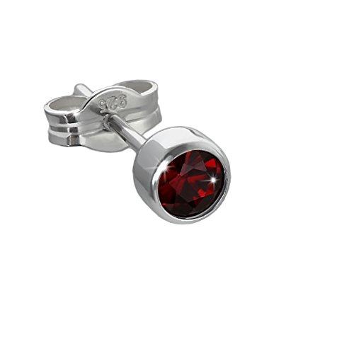NKlaus pendientes individuales de plata 925 rodiada 4,50mm granate auténtico 6687
