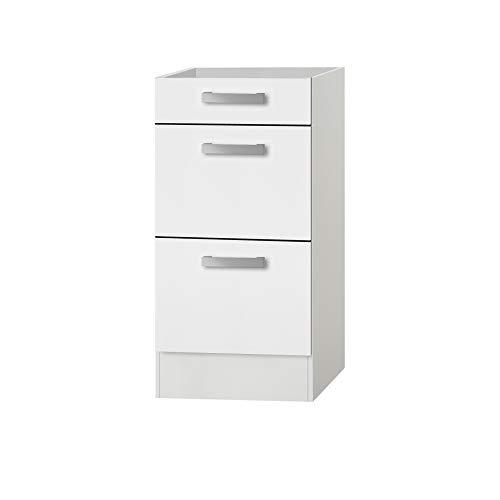 MMR Auszug-Unterschrank Küche DALLAS, ohne Arbeitsplatte, 1 Schublade, 2 Auszüge, 40 cm breit, Weiß
