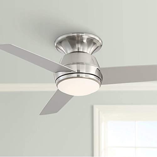 "44"" Marbella Breeze Brushed Nickel LED Hugger Ceiling Fan - Casa Vieja"