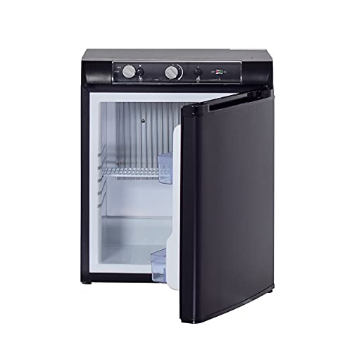 SMETA 3 Way Fridge Propane Refrigerator 12V/110V/Gas 1.4 Cu.Ft LP Gas Off-Grid Refrigerator without Freezer - Compact RV Cabin Camping Mini Fridge, Black