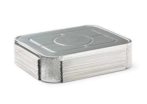(30 Pack) Premium Lids for Lasagna Pans 14' x 10' x 3' Heavy Duty l 26 Gauge l Disposable Aluminum Foil for Roasting, Baking, or Cooking