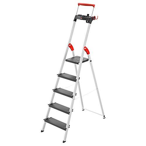Hailo L100 TopLine Alu-Sicherheits-Stehleiter | 5 XXL-Stufen bis 150 kg | Stehleiter mit ausziehbarem Haltebügel, Plattformverriegelung | viel Zubehör | klappbare Aluleiter made in Germany | schwarz