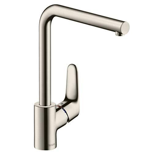 hansgrohe Focus Küchenarmatur (Wasserhahn Küche ohne Schlauchbox, 360° schwenkbar, hoher Auslauf 280mm) Edelstahl Finish