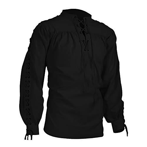 Dihope, camisa medieval para hombre, estilo gótico, de manga larga, con cordones, alto informal Negro XL