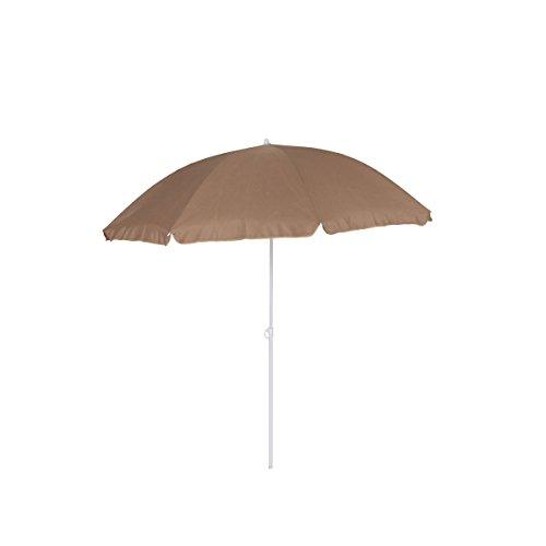 greemotion Sonnenschirm 2m mit UV-Schutz - Balkonschirm in Taupe-Weiß - Gartenschirm knickbar - Terrassenschirm rund - Outdoor-Schirm für Balkon, Terrasse & Garten