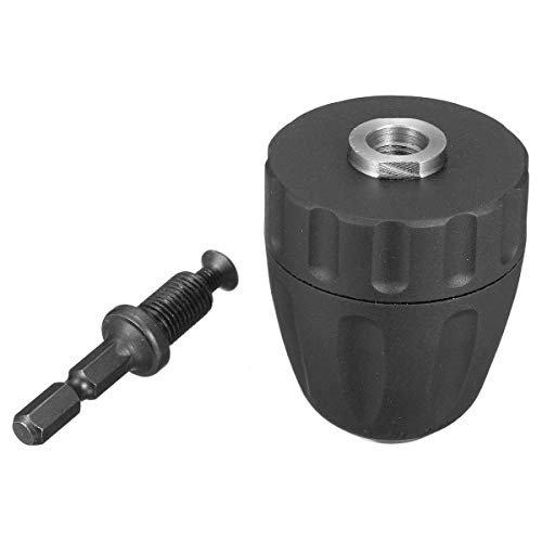 BXU-BG Drill Accessories, 0.8-10mm Keyless Drill Chuck Converter 3/8 Inch 24UNF with 1/4 Inch Hex Shank SDS Adapter
