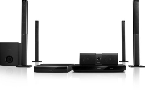 Philips HTB5580G 5.1 Home Entertainment-System (kabellosen Rücklautsprechern, 3D Blu-ray, WiFi, Bluetooth, NFC) schwarz