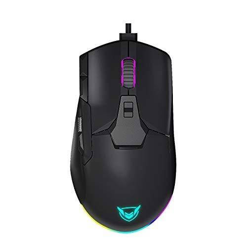 Holife Gaming Mause 12000 DPI, RGB Mause mit seitlichem Metall-Scrollrad, 8 programmierbaren Tasten mit abnehmbaren Fingerauflagen, Wired Mouse, Feuertaste, Scharfschützen Taste, PC