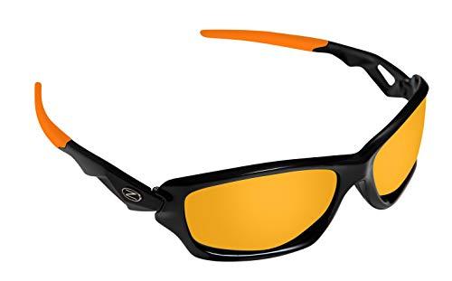 Rayzor Profesionales Ligeros Negros UV400 Deportes Wrap Running Gafas de Sol, con un Anti-deslumbramiento de Lente Espejo Oro Iridium Revo
