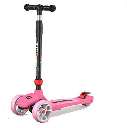 Dyx Scooter a Tre Ruote, Pedale per Scooter per Bambini con Slider Regolabile con Flash Leggero da 2 a 13 Anni (Color : Pink)