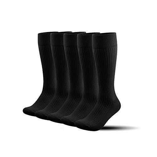 Caudblor Calcetines Ejecutivos Coolmax Traje Vestir Hombre Negro desodorante hasta de Rodilla Negro Altos Largos secos de Algodón,Athletic Fit Calcetines para Deporte,Running,dress socks/Negro