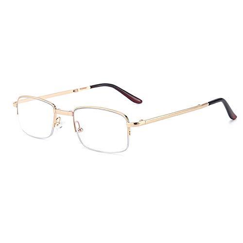 Reading Glasses Gafas de Lectura Plegables de Medio Marco de Metal, Gafas de Lectura Anti-luz Azul para Hombres y Mujeres, cómodas Gafas de Lectura revestidas para Personas Mayores