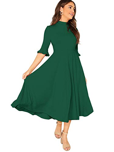Verdusa Women's Elegant Ribbed Knit Bell Sleeve Fit and Flare Midi Dress Green M