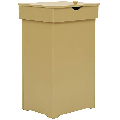 Function Home Kitchen Trash Can Country CottageTrashcan Wood Trash Bin Country Style Garbage Can Wooden Trash Can in-Home Recycling Bins 13 Gallon Outdoor Trash Cans Recycle Bin in Yellow