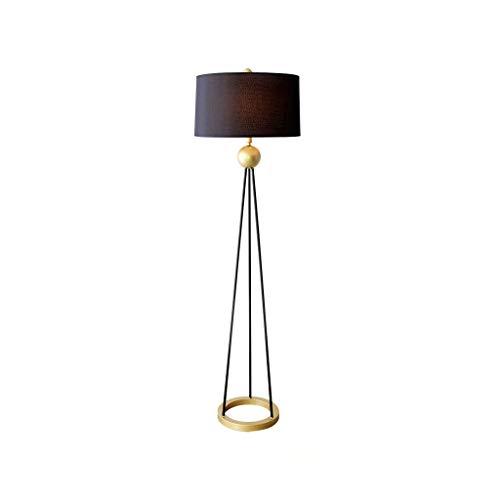 Lámpara de pie para salón, lámpara de mesa vertical, dormitorio, lámpara de mesita de noche, estudio creativo, luz postal, lujo, lámpara de pie americana simple Mj20-02-15 (color: negro)