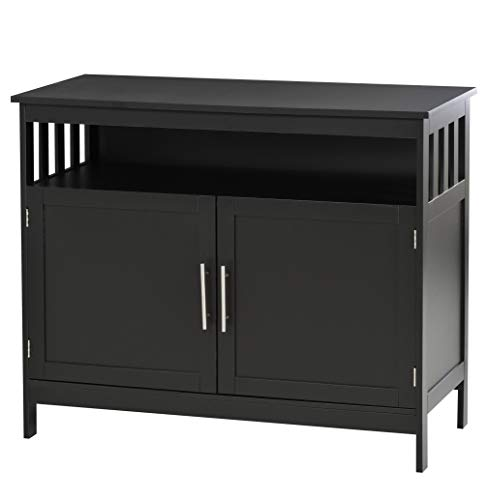 HOMCOM Kitchen Console Table, Buffet Sideboard, Wooden Storage Table with 2-Level Cabinet and Open Space, Black