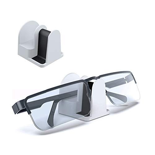 sciuU Brille Sonnenbrillen Halter, [2 Stück] Wandhalterung/Schreibtischständer/Autohalterung für Brillen, Eyewear Storage Organizer, 3M-Klebstoff Montage - Weiß