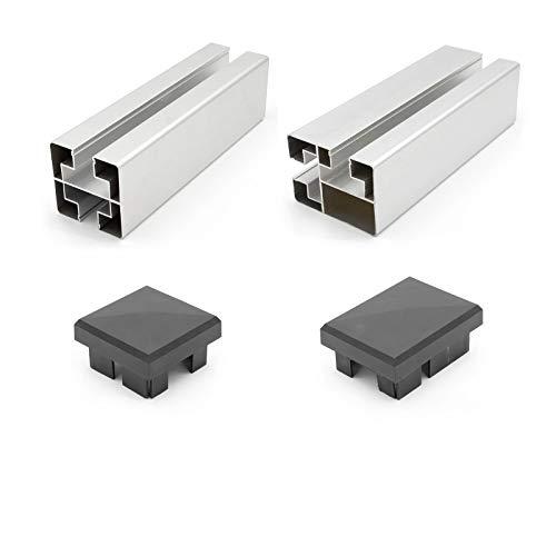 HORI® Pfosten für WPC-Zaun-Design I silber I für 90 cm Zaunhöhe I Konsole zum aufschrauben