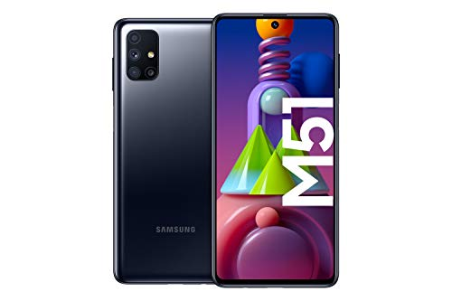 Samsung Galaxy M51 Android Smartphone ohne Vertrag, Quad-Kamera, 6,7 Zoll Infinity-O Super AMOLDED+ Display, starker 7.000 mAh Akku, 128 GB/6GB, Handy in Schwarz, deutsche Version exklusiv bei Amazon