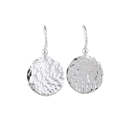 Tiny Lightweight Hammered Silver Circle Earrings Shiny Classic Texture