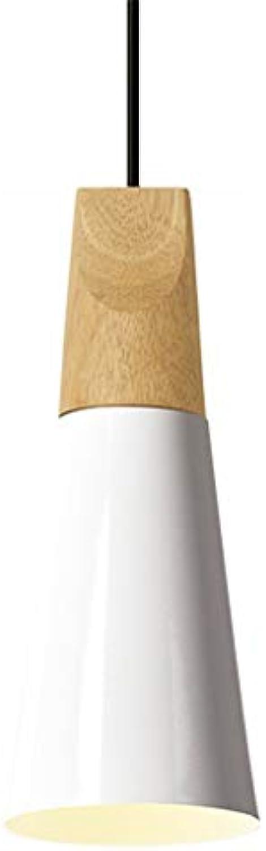 Yike-Lampe Moderne Leuchte Kronleuchter, hhenverstellbar, aus Aluminium und Massivholz, E27-Schraube, für Schlafzimmer, Wohnzimmer, Küche (wei)