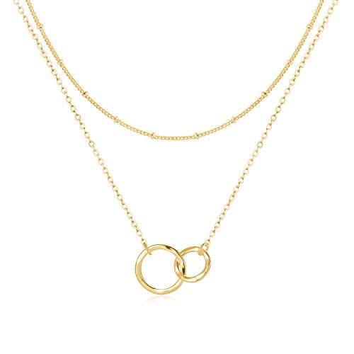 Fettero Layered Necklace Gold Satellite Chain Choker Double Circle Open Round Two Interlocking Infinity Hammered Pendant Dainty 14K Plated Minimalist Simple for Mother Daughter Jewelry Gift