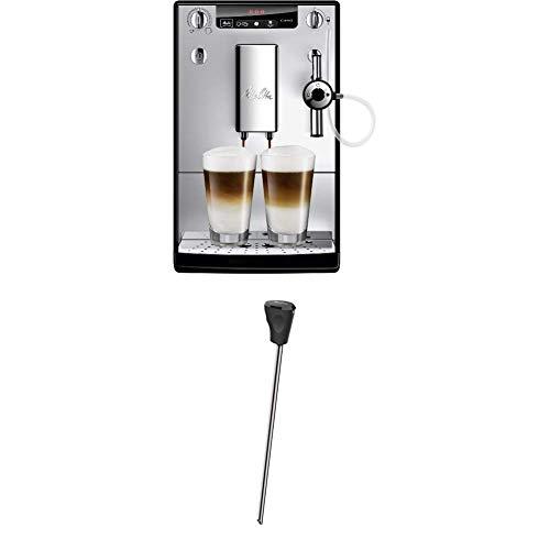 Melitta Caffeo Solo & Perfect Milk E957-103 Schlanker Kaffeevollautomat mit Auto-Cappuccinatore | Automatische Reinigungsprogramme Silber + Milchlanze für Kaffeevollautomaten, Edelstahl, Schwarz