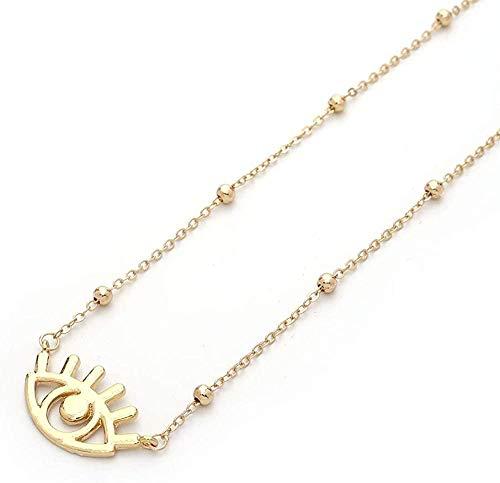 Collar Accesorios Cadena De Oro para Mujer Cristal De Ojo Malvado Collares con Colgante De Moneda Collar De Capas De Color Dorado Bohemio 45Cm