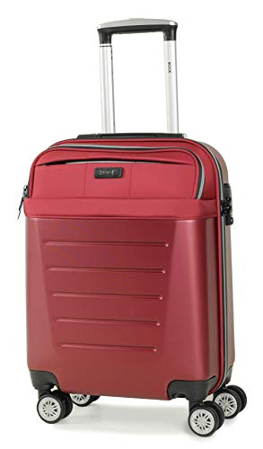 Rock Hybrid 55cm 8-Wheel Cabin Size Hardshell Suitcase with Easy Access Laptop Section in Red