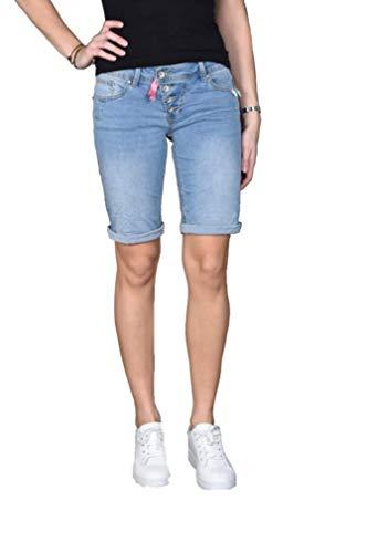 Buena Vista Damen Jeans Malibu-Short Stretch Denim Light Blue L
