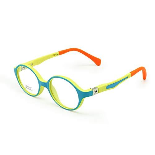 EnzoDate Bebé Niño Gafas Marco TR90 Tamaño 37mm Seguro Bendable Flexible Óptico Niños Niños Lentes Claro Lentes Primavera Bisagra (Azul amarillo)