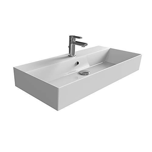 Aqua Bagno | Design Waschbecken Hängewaschbecken Aufsatzwaschbecken Waschtisch aus hochwertiger Keramik eckig KS.90 | 90 x 42 cm | Weiß