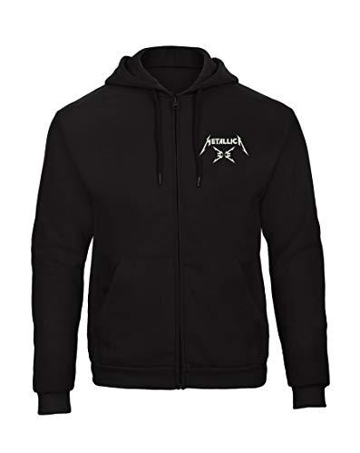Metallica Fun Bestickte Logo Sweatjacken Kapuzenpullover mit Reißverschluss Premium Qualität - 9125 - SW (XL)