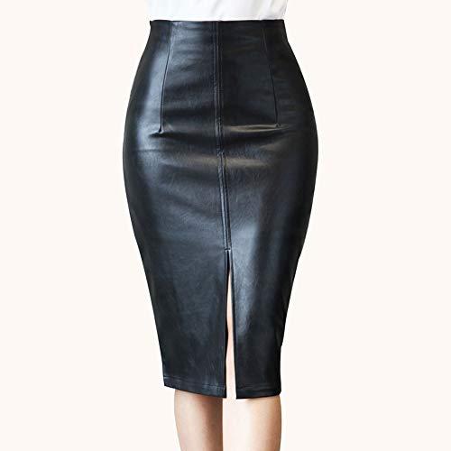 Avalita Vrouwen PU Lederen Potlood Rok Mode Knielengte Midi Bodycon Rokken Plus Size