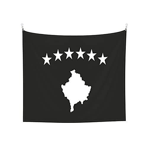 Kosovo Flaggen Tapisserie Wandbehang Tarot Boho Beliebte Mystic Trippy Yoga Hippie Wandteppiche für Wohnzimmer Schlafzimmer Wohnheim Heimdekor Schwarz & Weiß Stranddecke