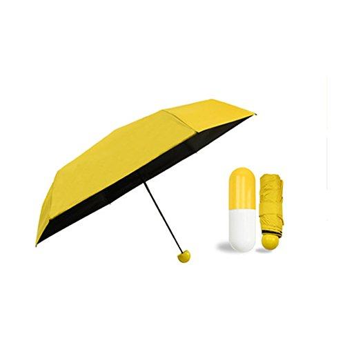 Sencillo - Mini ombrello Anti-UV, compatto e richiudibile, 200 g/18 cm circa, ultraleggero, con capsula, pieghevole, adatto per donna, ragazza, bambina taglia unica Yellow Umbrella