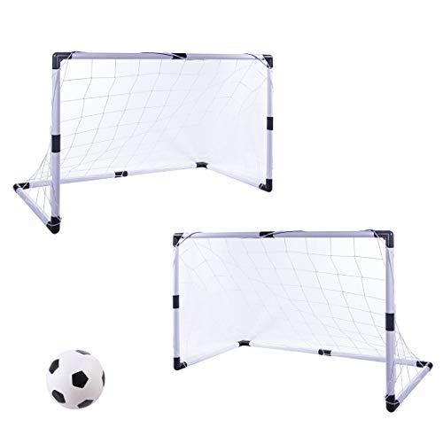 Haunen Fußballtor Set für Kinder, 2er Set Fußballtor Pop Up mit Netz und Ball Mini Fußball Tor mobil für Drinnen und draußen, 92×61×48cm (HxBxT)