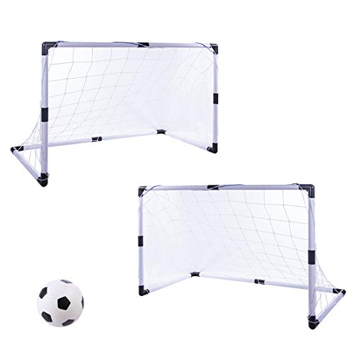 Tosbess 2 Pezzi Porta Calcio, Calcetto Pallone Allenamento Rete Sport Gioco per bambini, 92X 61X 48cm