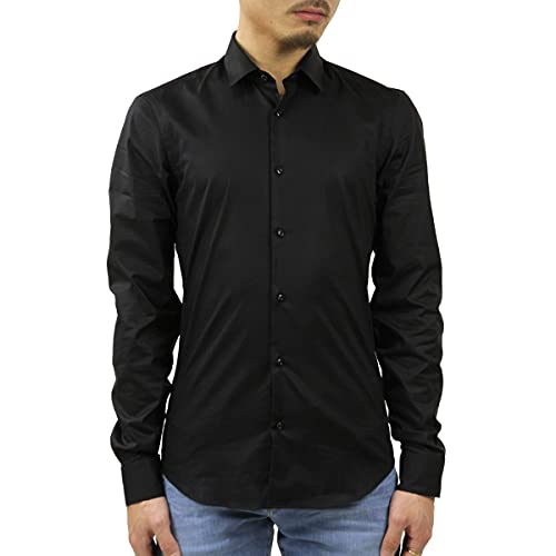 Scotch & Soda Nos Camisa Collar clásico Slim Fit, Hombre, Negro (Black 0008), Large