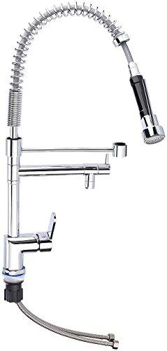Rosenstein & Söhne Wasserhahn: Profi-Gastro-Armatur mit Einhand-Mischbatterie (Gastro Wasserhahn mit Brause)