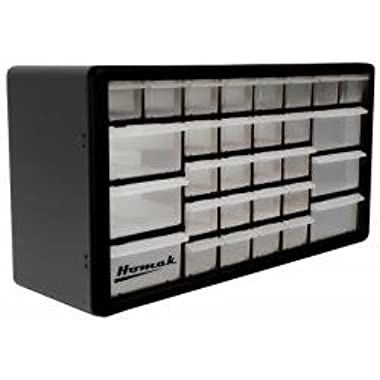 Homak 30-Drawer Parts Organizer, Black, HA01030102