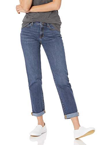 Amazon Essentials Women's Mid-Rise Girlfriend Cropped Jean, Medium Dark Wash, 16 Regular