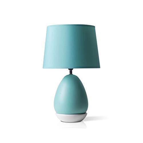 ZWMG Lámparas de Mesa Dormitorio nórdico Lámpara de mesita de Noche Lámpara de mesita de Noche de cerámica Moderna Interruptor de botón de luz cálida LED