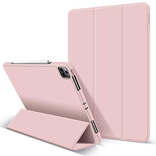 ZryXal iPad Pro 11 Case 2020 with Pencil Holder (2nd Generation), Premium Protective Case Cover with Soft TPU Back and Auto Sleep/Wake Feature for 2020/2018 iPad Pro 11 (Pink)