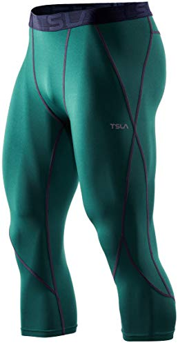 TSLA Men's 3/4 Compression Pants, Running Workout Tights, Cool Dry Capri Athletic Leggings, Yoga Gym Base Layer, Active(muc38) - Green, Large