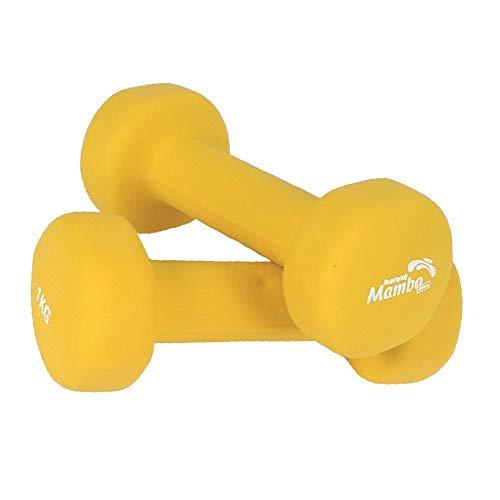 MVS 06-010103 set 2 MANUBRI da 1 Kg cadauno VINYL DUMBBELLS pesi fitness vinile lucido lavabile colore GIALLO