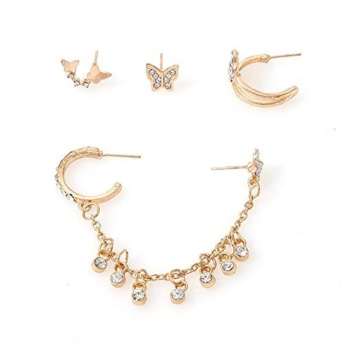 QIN Pendientes de Mariposa joyería de Moda Earing Trend Ear Studs Piercings Chain aretes Accesorios para Mujeres Grils