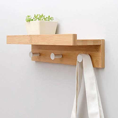 Zwevende planken, wandmontage met plank, eenvoudige opslag voor staande staande kapstok, wandrek met 2 3 4 5 haken, ingang, hal, slaapkamer, badkamer, woonkamer, wit wandrek