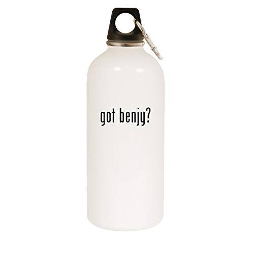 got benjy? - 20oz Stainless Steel White Water Bottle with Carabiner, White
