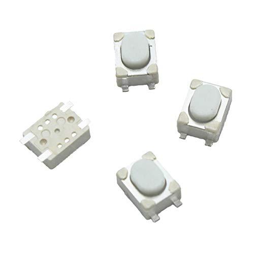 YSHSPED Interruptor Giratorio 100 unids/Lote 3 * 4 * 2.5mm SMD TACT Switch 4 Pin Touch Micro Interruptor Interruptor Pulsador Interruptores 3x4x2.5h Botón Blanco Coche Botón de tecla Remoto